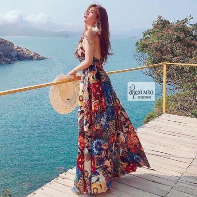 Đầm maxi thổ cẩm ❤️FREESHIP❤️ Đầm maxi thổ cẩm đi biển