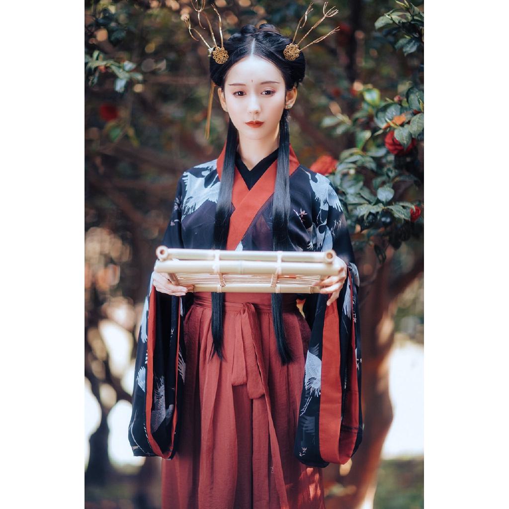 กล้วยไม้ศาล hanfu เสื้อผ้าคู่บิ๊กแขน weishu ลมคอจราจร