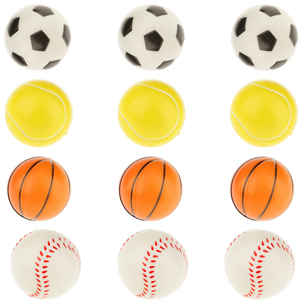 Pack of 12 Solid PU Sponge Ball 4 Kinds of Ball Games Release Pressure Toy