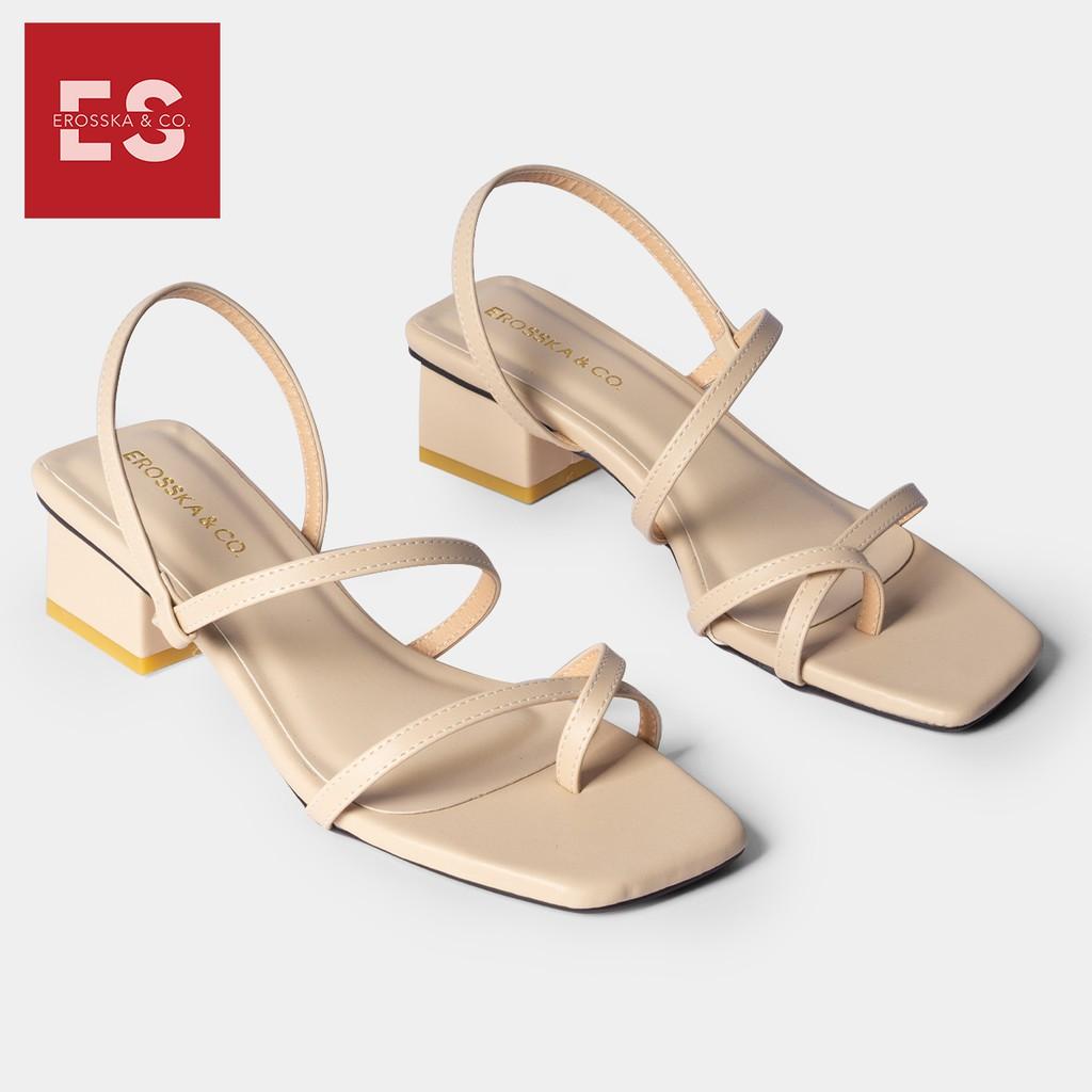 Sandal nữ xỏ ngón dây mãnh thời trang Erosska, kiểu dáng hiện đai dễ phối đồ cao 5cm màu kem _ EB024