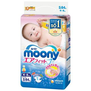 Bỉm moony Nhật nhập khẩu dán/quần size NB90,S84,M64,M58,L44,Xl38