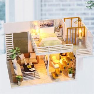 🚀WOW✈ Tượng nhà búp bê thiết kế đơn giản với đồ nội thất 🔥