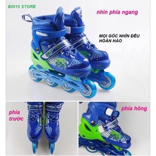 Combo giày trượt patin có đèn phát sáng kèm mũ bảo hiểm và lót bảo vệ chân tay.Đủ side từ 4 tuổi trở lên .