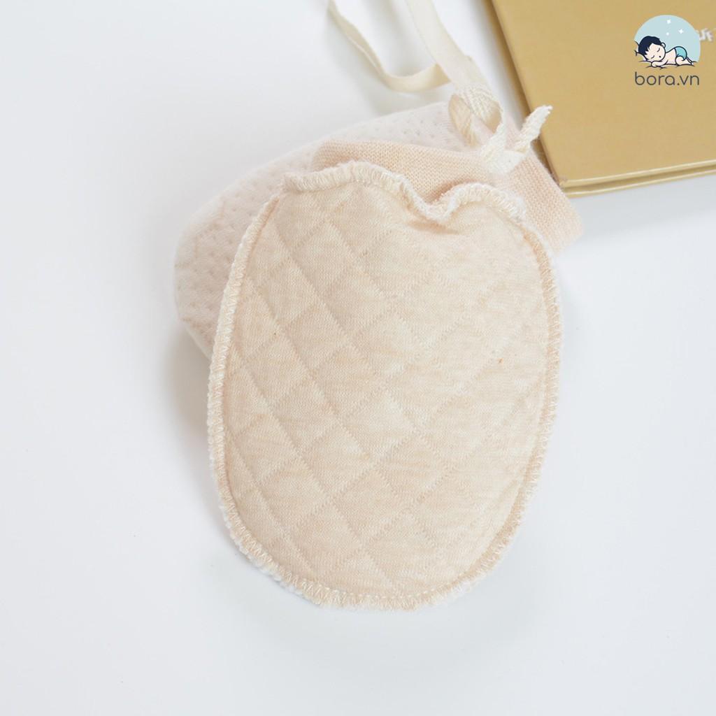 [Mã 267FMCGSALE giảm 8% đơn 500K] Bao tay giữ ấm cho bé, cotton hữu cơ, có dây buộc