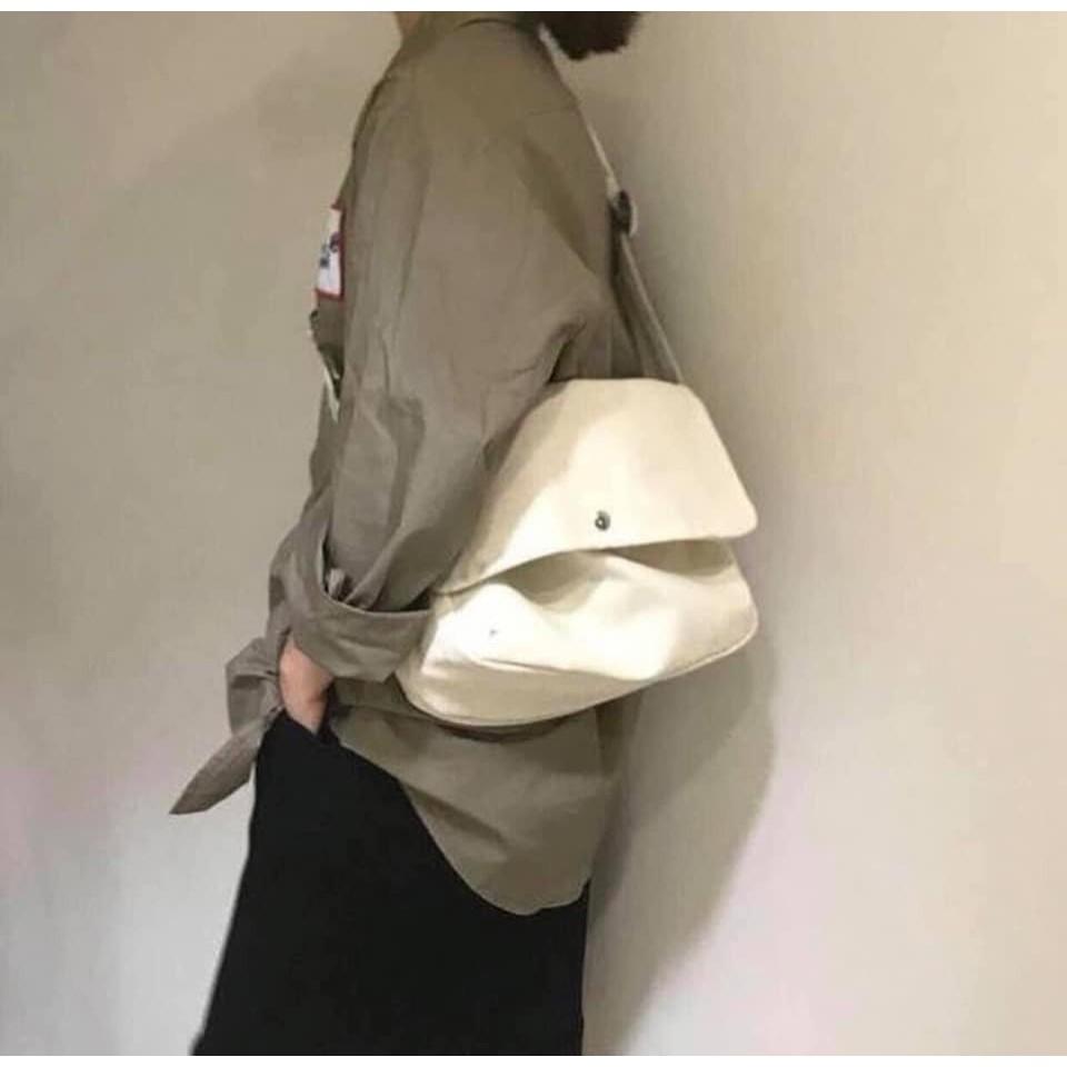 Túi Vải Nắp Lệch Đeo Chéo Nút Đồng 🦋 Túi Tote Chéo Vải Canvas Dáng Unisex 2 Màu 🦋