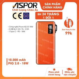 Pin sạc sạc nhanh dự phòng 10000mAh ,pin sự phòng siêu mỏng Aspor A359- Hàng Chính Hãng