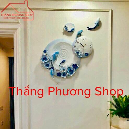 Đồng Hồ Treo Tường Lý Ngư Vọng Nguyệt TP-038BL (Tặng Máy Đồng Hồ Thay Thế)