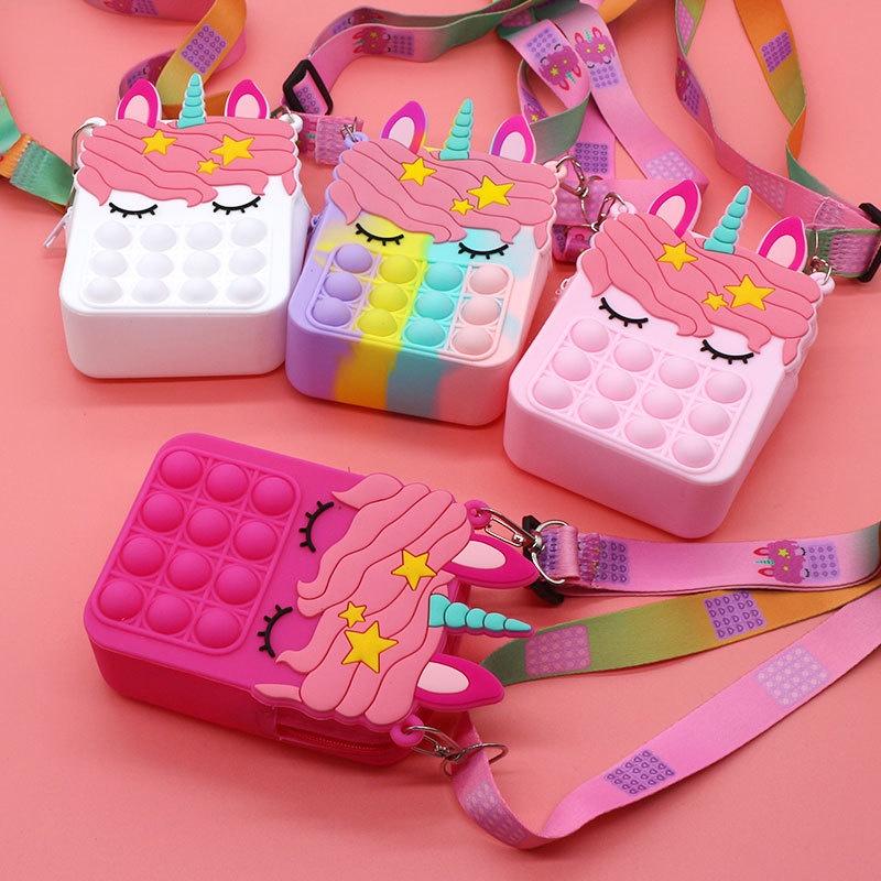 ⚡Giao hàng trong 24 giờ⚡Pop It Fidget Rainbow Color Bubble Bag Toy Crossbody Bag Túi kỳ lân Giải tỏa căng thẳng