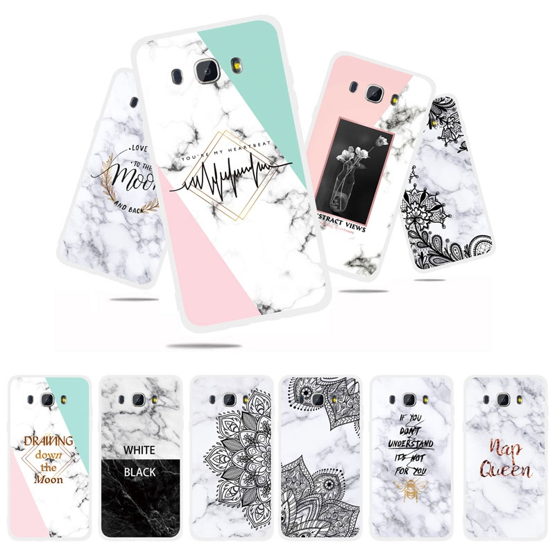 Marble Back Case Samsung Galaxy J7 J5 J3 2016 J710 J510 J310 Matte TPU Silicone Phone Cover