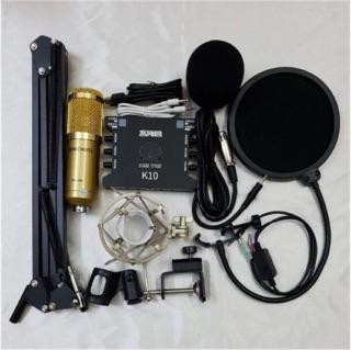 [Freeship toàn quốc từ 50k] Combo mic thu âm BM900 sound K10 live MA2 full phụ kiện tặng tai nghe AKG