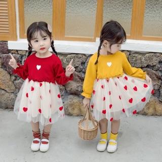 Váy tim chân váy ren xoè công chúa cho bé gái