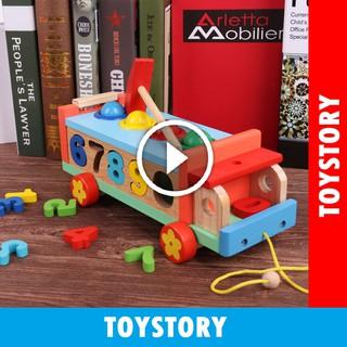 [ToyStory] Đồ Chơi Xe Kéo Thả Số Gỗ Trẻ Em – Đập Bóng Bằng Gỗ – Giáo Cụ Montessori Phát Triển Tư Duy Và Kỹ Năng Cho Bé