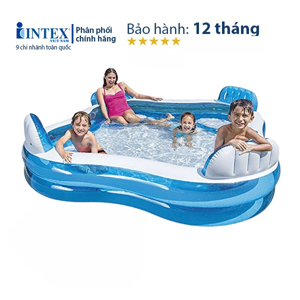 Bể bơi phao Salon CHÍNH HÃNG INTEX 56475, chất liệu PVC cao cấp, dày 0,33mm, thể tích 990 lít