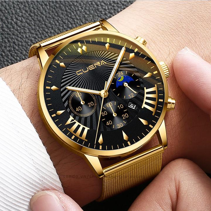 Đồng hồ nam CUENA CNA07 doanh nhân thời thượng sắc nét dây thép lụa trẻ trung