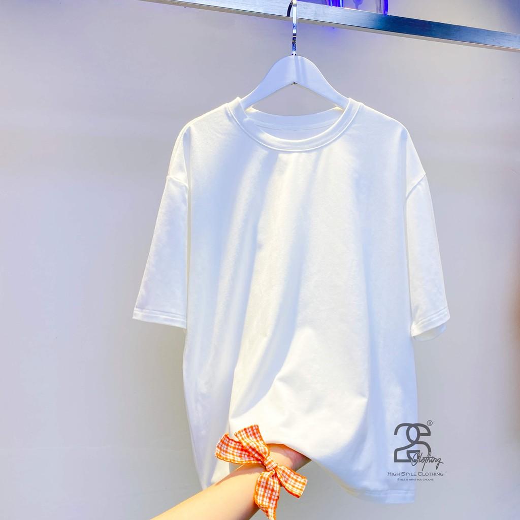 [Mã FASHIONT4MA giảm 10K đơn 50K] Áo Thun Trơn Unisex Màu Trắng Oversize Cổ Tròn Tay Lỡ Giá Rẻ - 2S Clothing