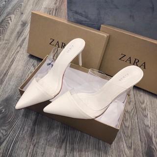 Giày cao gót Sục trắng quai mica mũi nhọn gót nhọn hàng fullbox có hộp