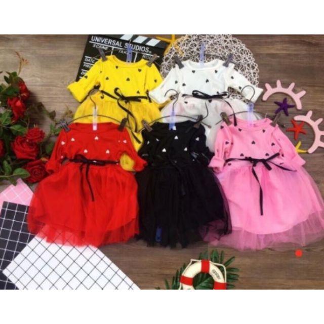 Set váy áo dài tay xinh phối chân ren QATE149 cho bé sơ sinh đến 17kg