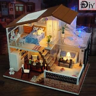 Mô hình nhà búp bê DIY CRYSTAL HOUSE có nội thất và đèn LED (Kèm khung MICA + dụng cụ keo + CÓT NHẠC) – Quà tặng tự làm