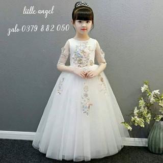 (GIÁ SỐC) trắng dài ren thêu cao cấp cho bé gái