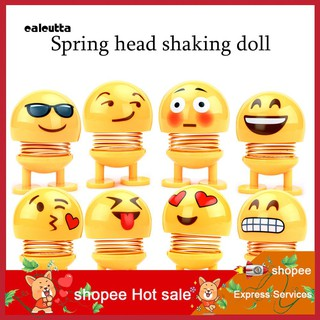 ◕‿◕Cartoon Shaking Head Emoji Spring Bobblehead Doll Home Car Dashboard Ornament