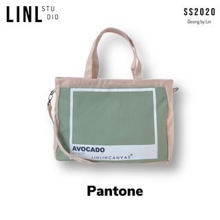 Túi vải nhiều ngăn - PANTONE - 6 màu - tặng kèm 1 ví cùng màu - LINLINCANVAS