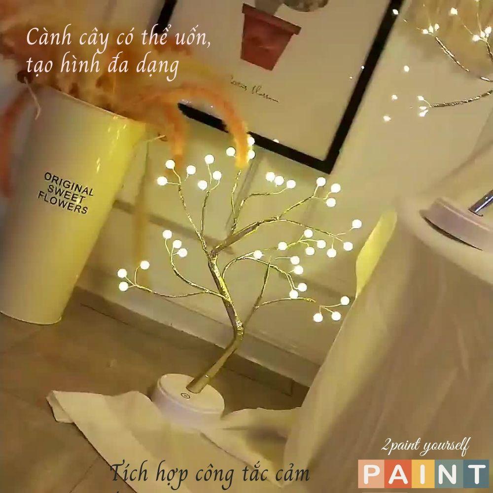 Đèn ngủ để bàn, đèn LED hình cây trang trí phòng, decor dùng Pin hoặc USB nôi thất phòng ngủ