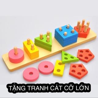 [TẶNG TRANH CÁT] Đồ chơi gỗ Montessori hình học màu sắc