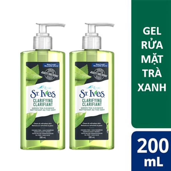 Combo 2 chai gel rửa mặt trà xanh ngừa mụn St.Ives Clarifying Green Tea Cleanser 200ml