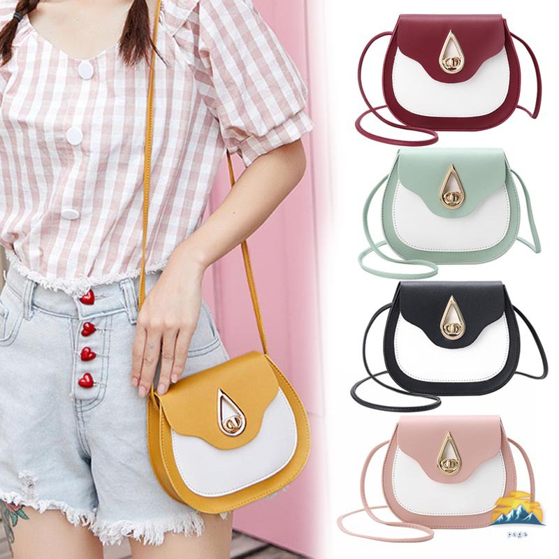 Women PU Leather Shoulder Bag Waterdrop Lock Buckle Girls Crossbody Bags