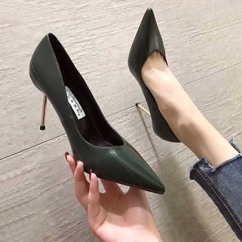 Giày Cao Gót Da Mềm Mũi Nhọn Thời Trang Mùa Thu 2020 Cho Nữ 10