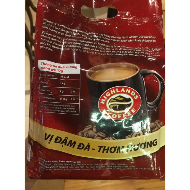 Cafe Hòa Tan 3IN1 Highlands Coffee - 40 Gói X 17 G