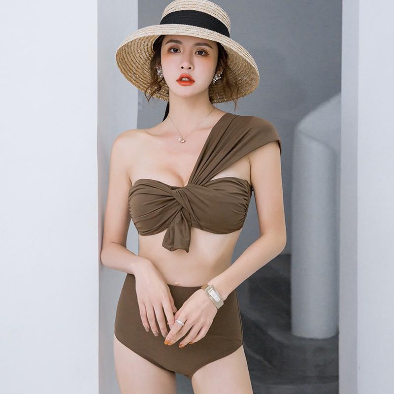 [Hàng QC đủ size] Bikini tắm biển áo quây lệch vai