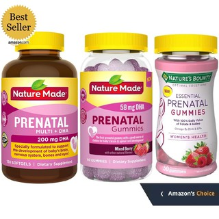 Vitamin bà bầu Prenatal Multi DHA Nature Made Nature Bounty 50-60-90-110-115-150v gummies 58-200mg Date 2020