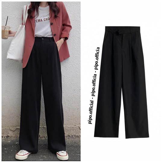 Quần ống rộng culottes dáng dài lưng thon 100cm siêu Hot phong cách Hàn Quốc