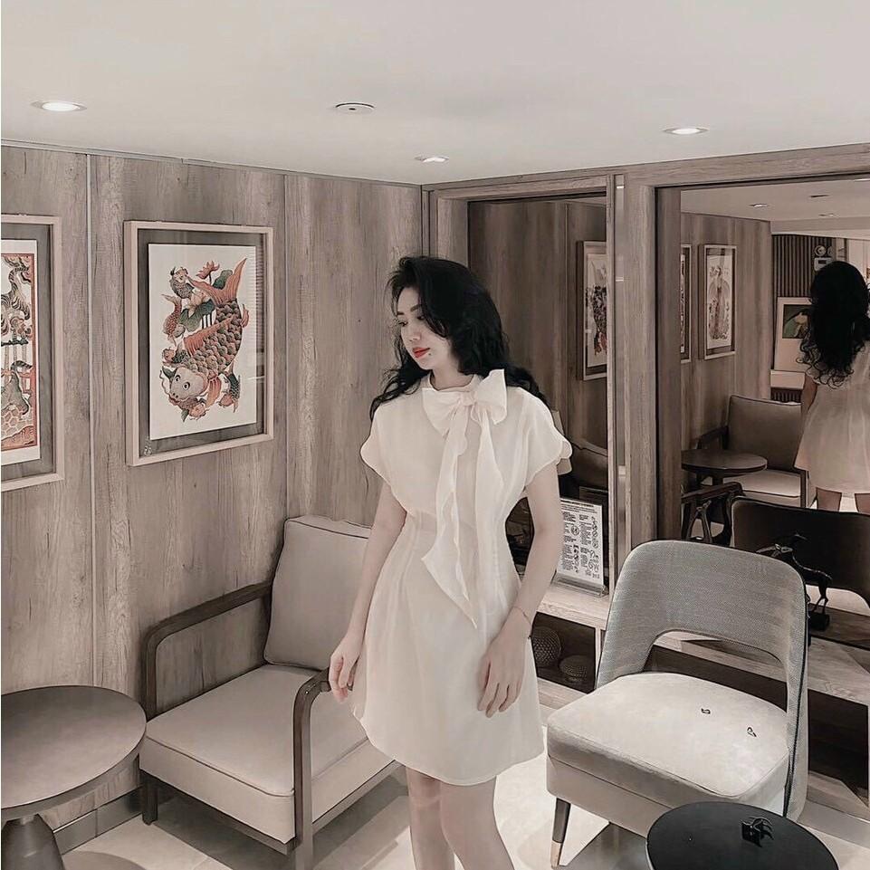Maxi màu xanh nhẹ nhàng cổ V kết hạt xinh xắn [ Váy trắng dự Tiệc