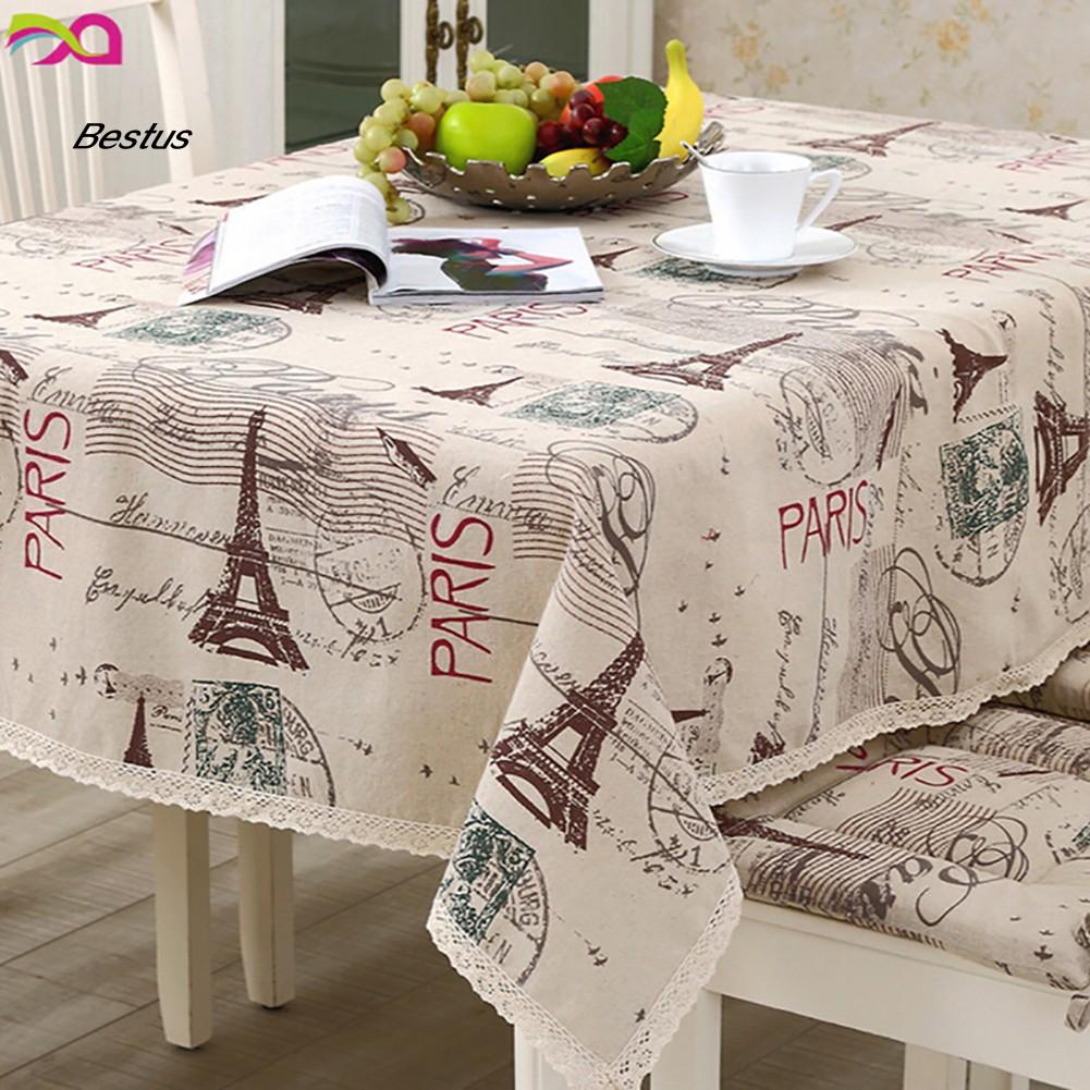 Khăn trải bàn vải lanh cotton họa tiết tháp Eiffel cổ điển