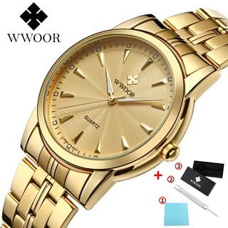 WWOOR Men's Watches Waterproof Wristwatch Stainless Steel Quartz Watches 8028