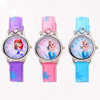 Đồng hồ dây da mặt hình công chúa hoạt hình dễ thương thời trang