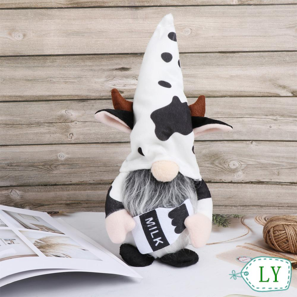LY Home&Living Gnomes Plush Outdoor Ornaments Scandinavian Swedish Cow Elf Cartoon Cow Garden Supplies Home Decoration Tray Display Farmhouse Decor Gnomes Faceless Doll
