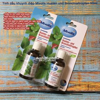 Tinh dầu khuynh diệp Mivolis Husten und Bronchialtropfen 50ml, giúp hết ho, viêm phế quản, viêm đường hô hấp, đau cơ