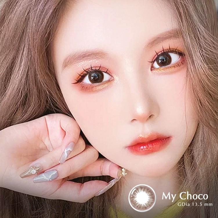 Lens nâu tự nhiên MY CHOCO hiệu Angel Eyes chất liệu Silicone đường kính 13.5mm - Độ cận 0-8