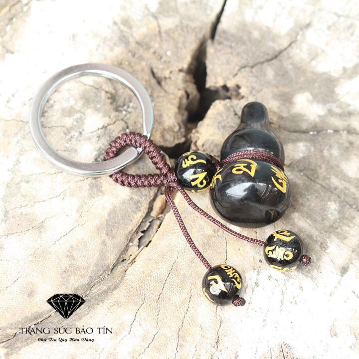 Mặt Móc Bầu Hồ Lô Đen Dây Nâu Chất Liệu Obsidian Cao Cấp - Thương Hiệu Bảo Tín