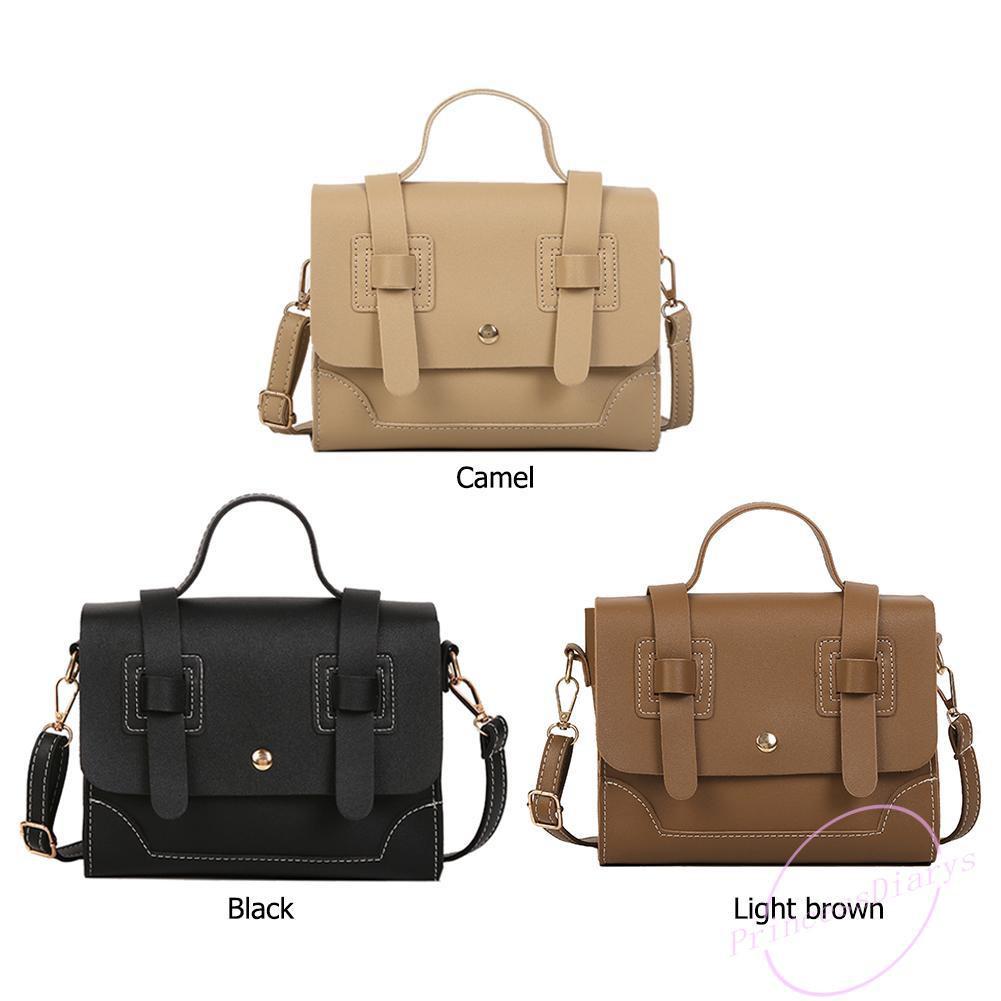 Solid Color PU Leather Shoulder Messenger Handbags