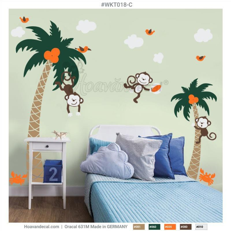 Decal nội thất Coconut and Monkey - WKT018 Set C