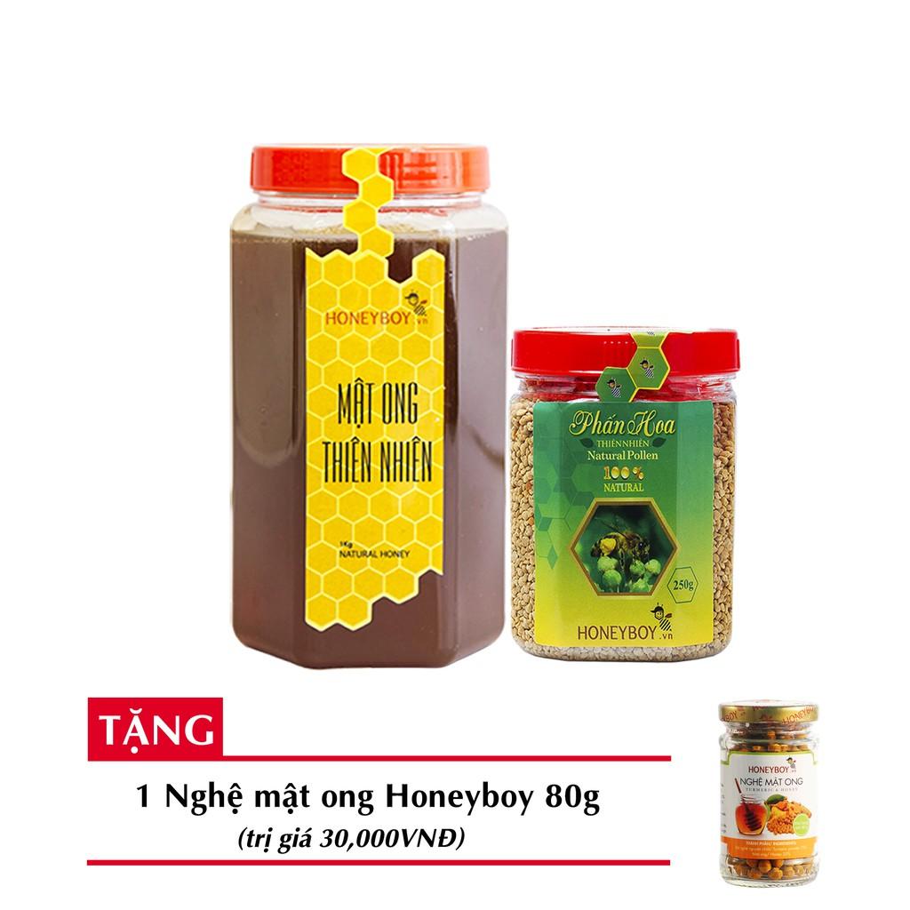 [Độc quyền]Bộ 2 Mật ong thiên nhiên HONEYBOY 1kg + Phấn hoa thiên nhiên HONEYBOY 250g + tặng 1 Nghệ