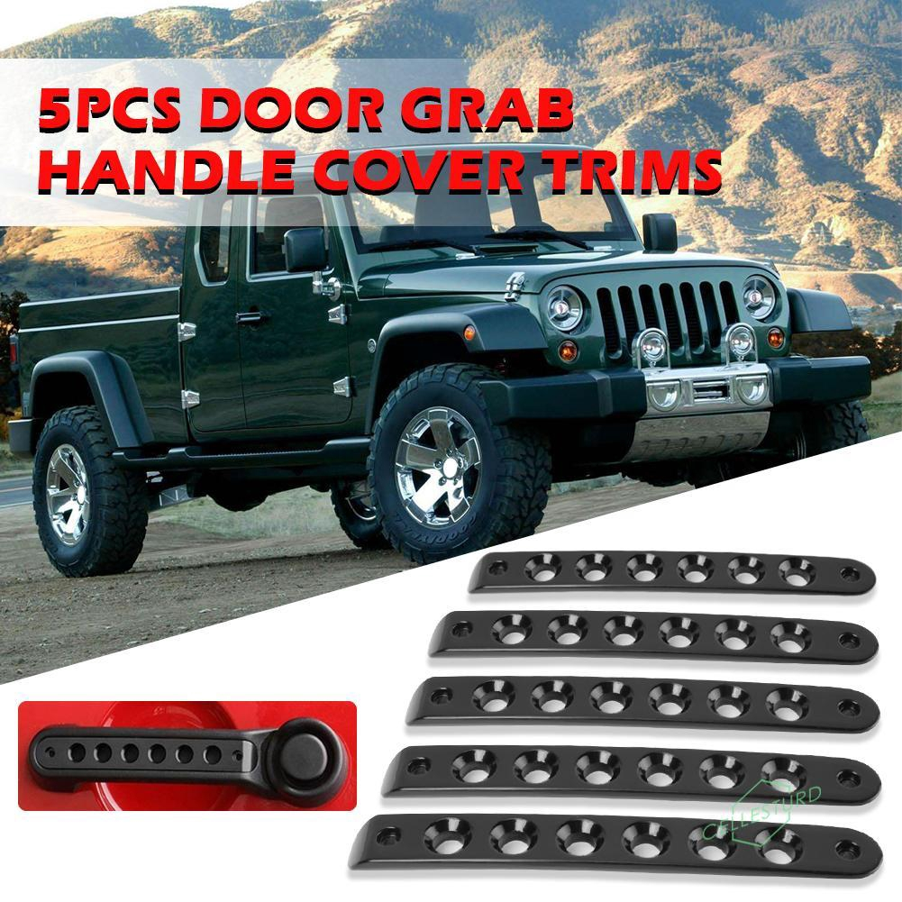 CS 5x Aluminum Door Grab Handle Inserts Cover Trim for Jeep Wrangler JK 07-18