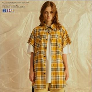 Zip flannel shirt cộc tay (Đỏ-Vàng)
