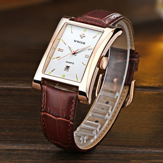WWOOR Fashion Men's watches waterproof calendar leather strap casual square wristwatch business watch for men 8017