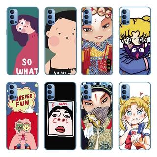 Cartoon Cute Girl Silicone Back Cover OPPO Reno 5 Pro 5G/Find X3 Pro A55 A93 A15 A15S Soft TPU Case Shockproof