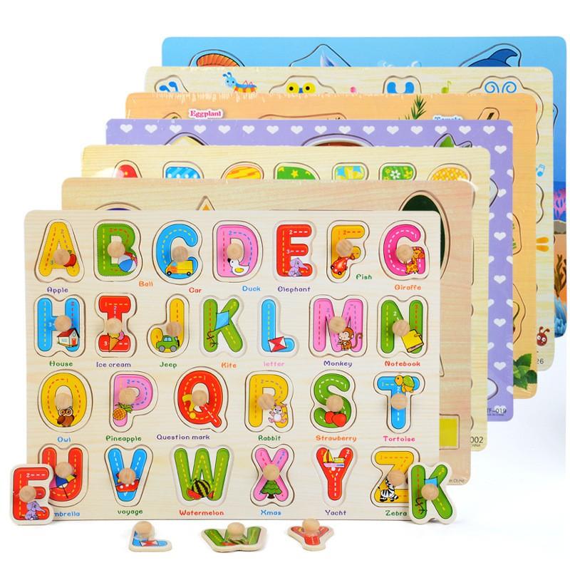 Bảng lắp ghép bằng gỗ, bảng học chữ cái và số Montessori có núm cho bé